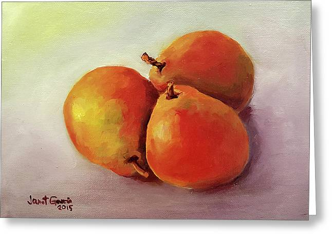 Three Pears Greeting Card by Janet Garcia