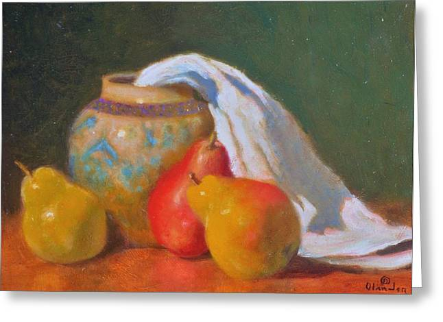 Three Pears With Persian Vase Greeting Card by David Olander