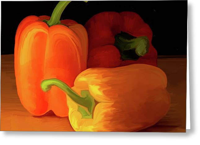 Three Peppers 01 Greeting Card by Wally Hampton