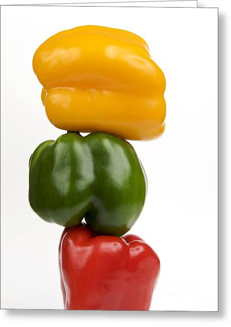 Three Peppers Greeting Card by Bernard Jaubert