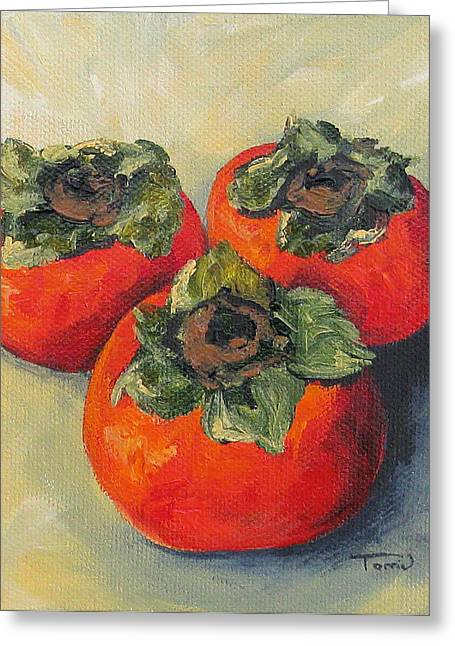 Three Persimmons Greeting Card