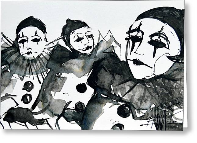 Three Pierrots - Venice Carnival Greeting Card by Mona Edulesco