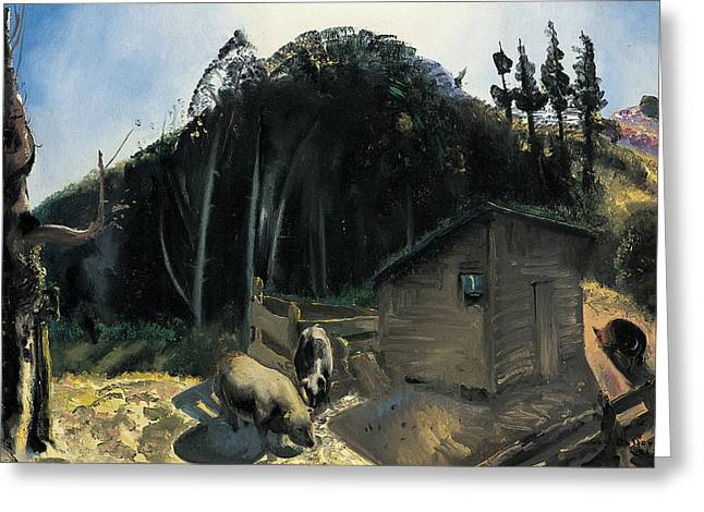 Three Pigs And A Mountain Greeting Card by George Wesley Bellows