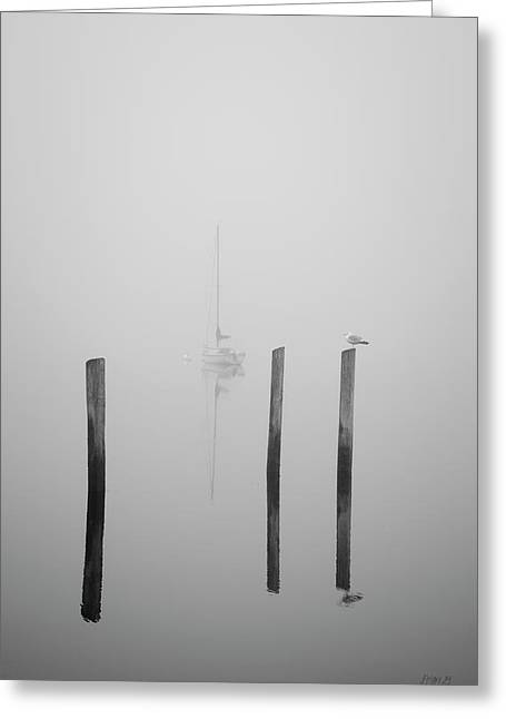 Three Pilings And Sailboat Greeting Card