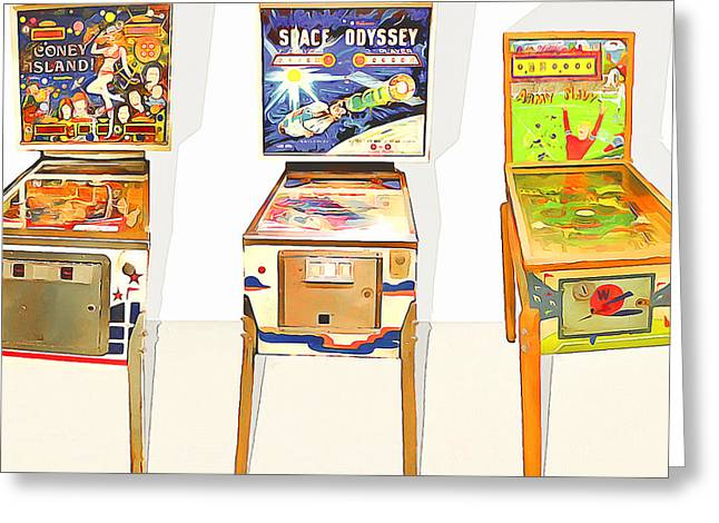 Three Pinball Machines 20160226 Square Greeting Card by Wingsdomain Art and Photography