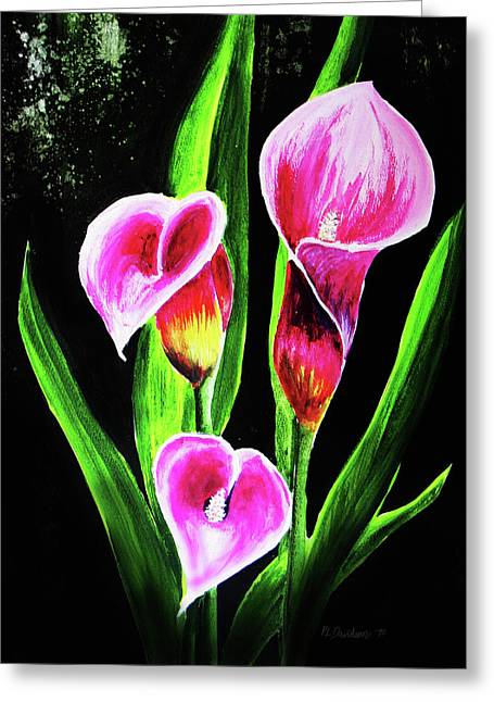 Greeting Card featuring the painting Three Pink Calla Lilies. by Patricia L Davidson