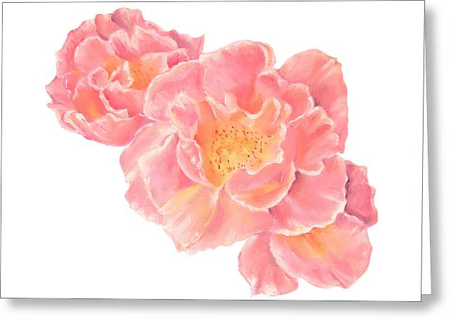 Three Pink Roses Greeting Card
