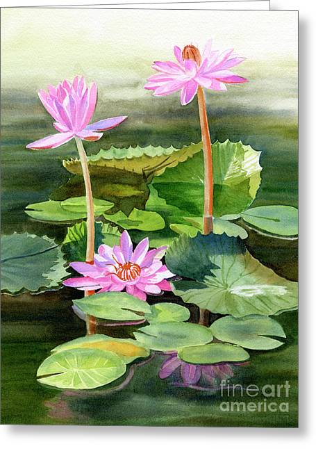 Three Pink Water Lilies With Pads Greeting Card by Sharon Freeman