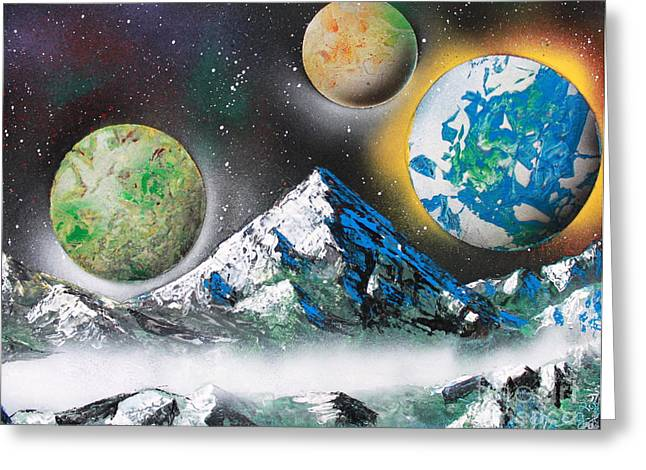 Three Planets Greeting Card by Greg Moores
