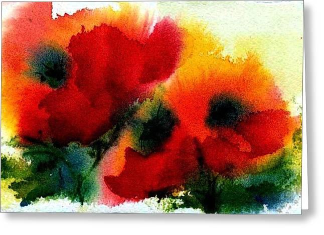 Three Poppies Greeting Card by Anne Duke