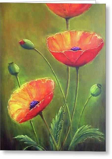 Three Poppies Greeting Card by Silvia Philippsohn