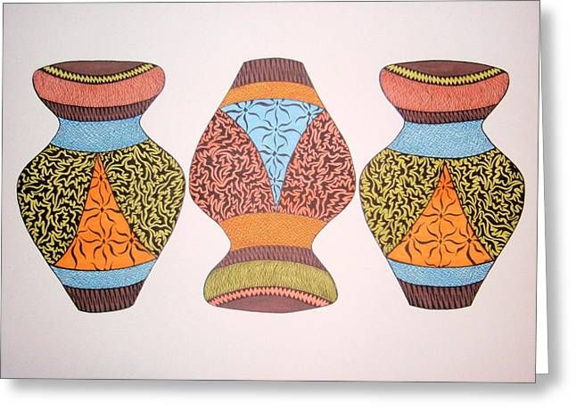 Greeting Card featuring the drawing Three Pots by Beth Akerman
