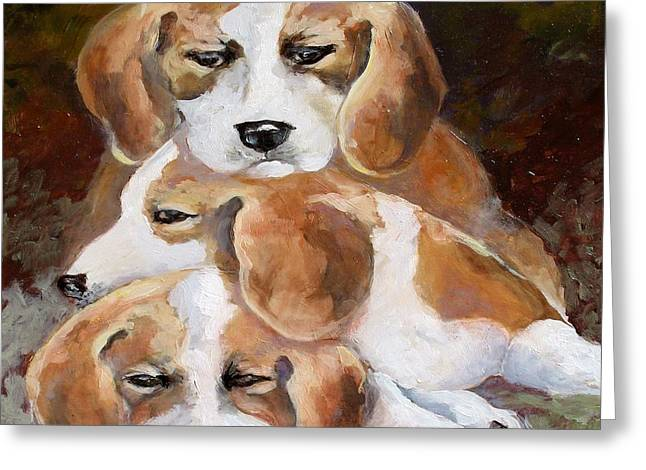 Three Puppies Greeting Card by Audie Yenter
