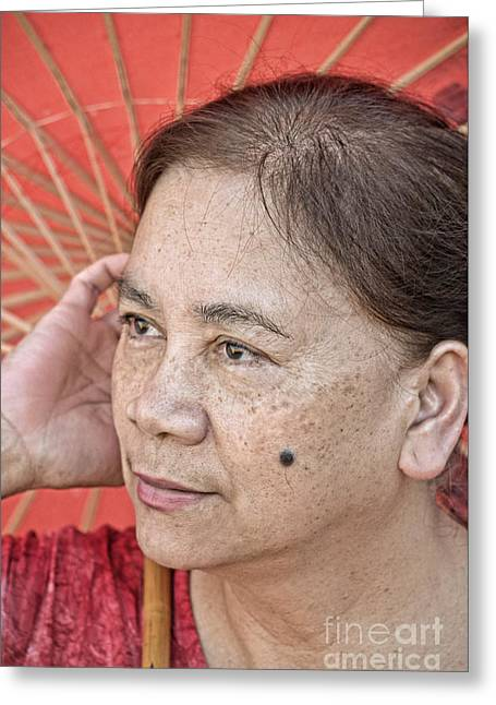 Three Quarter Portrait Of A Freckle Faced Filipina With A Mole On Her Cheek  Greeting Card by Jim Fitzpatrick