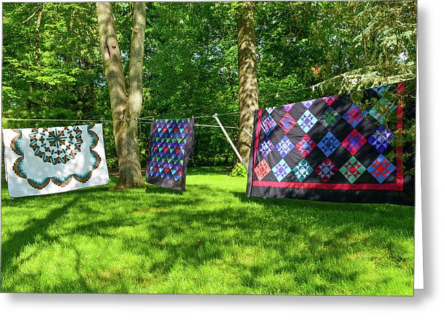 Three Quilts In The Breeze Greeting Card