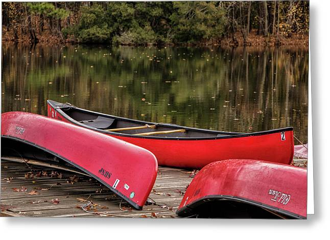 Three Red Canoes Greeting Card by Robert Anastasi