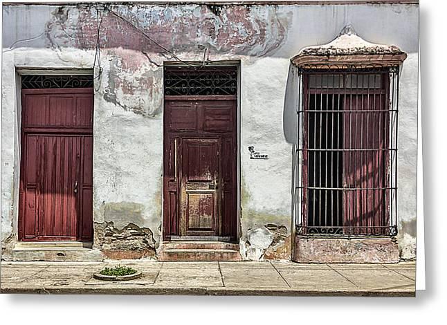 Three Red Doorways Greeting Card