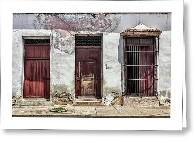 Three Red Doorways Greeting Card by Dawn Currie