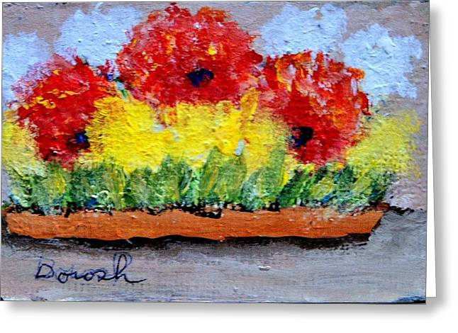 Three Red Flowers Greeting Card