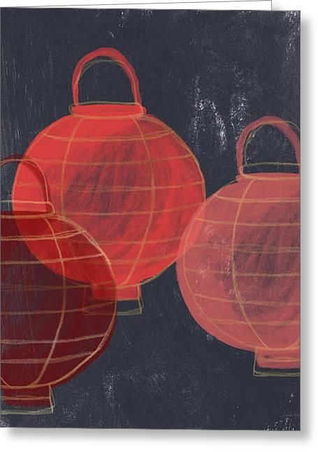 Three Red Lanterns- Art By Linda Woods Greeting Card