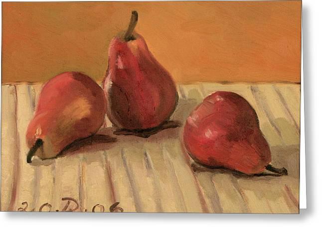 Three Red Pears Greeting Card by Raimonda Jatkeviciute-Kasparaviciene