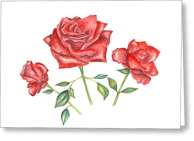 Greeting Card featuring the mixed media Three Red Roses by Elizabeth Lock