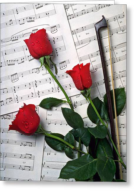 Three Red Roses  Greeting Card by Garry Gay