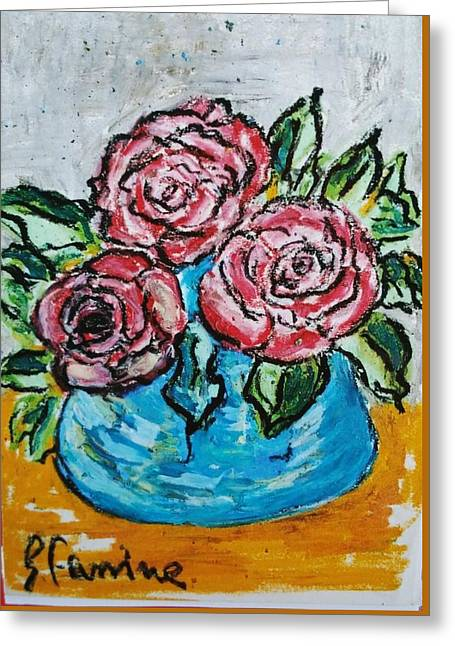 Three Red Roses In The Blue Vase Greeting Card by Giuseppe Fassina