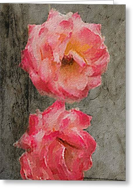 Greeting Card featuring the digital art Three Roses by Dale Stillman