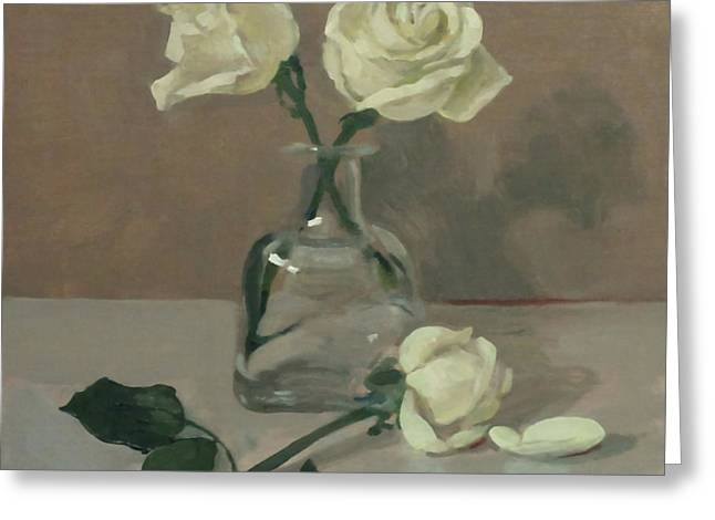 Three Roses In A Tequila Bottle Greeting Card