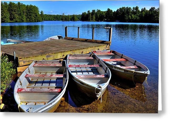 Three Rowboats Greeting Card by David Patterson