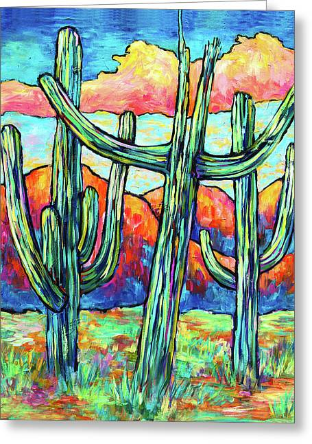 Three Saguaros Greeting Card