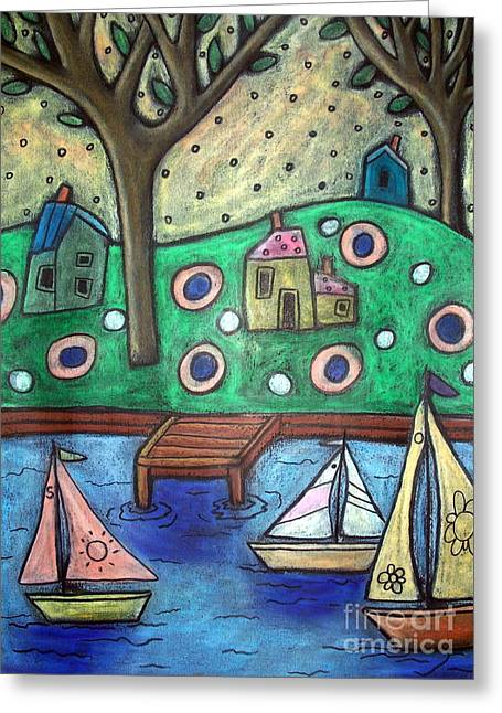 Oil Pastels Pastels Greeting Cards - Three Sailboats Greeting Card by Karla Gerard