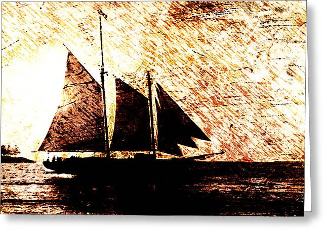 Seaside Digital Greeting Cards - Three Sails in Sunset Greeting Card by Andrea Barbieri