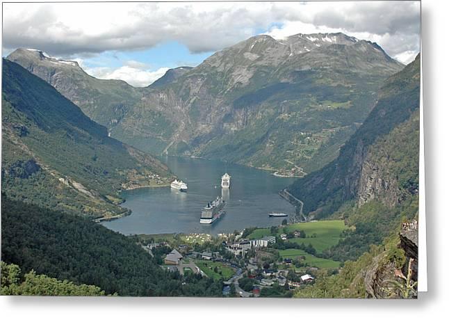 Three Ships At Geiranger Fjord Greeting Card by Deni Dismachek