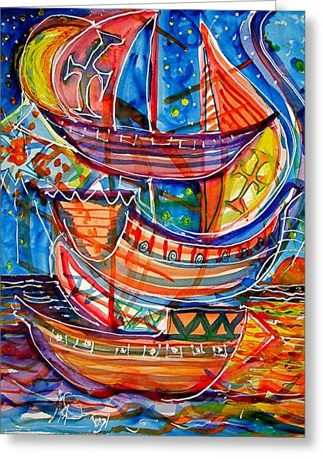 Three Ships Greeting Card by Mike Shepley DA Edin