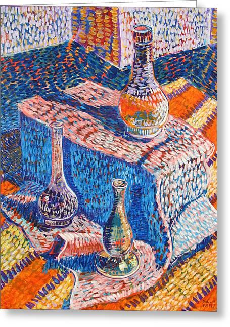 Three Simple Vases Greeting Card by Rollin Kocsis