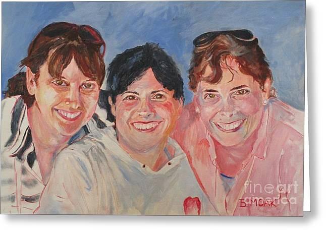 Three Sisters Greeting Card by Barbara Moak