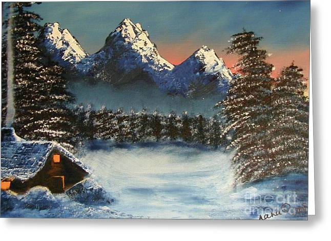 Three Sisters Cozy Cabin Greeting Card
