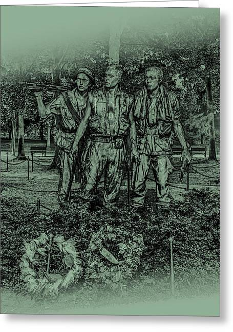 Three Soldiers Memorial Greeting Card by David Morefield