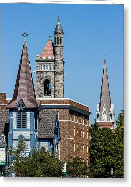 Three Steeples Of St Johnsbury Vermont Greeting Card by Tim Kirchoff