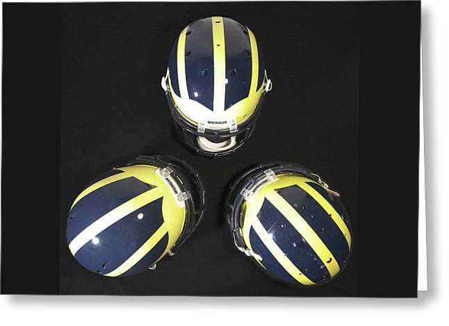 Three Striped Wolverine Helmets Greeting Card