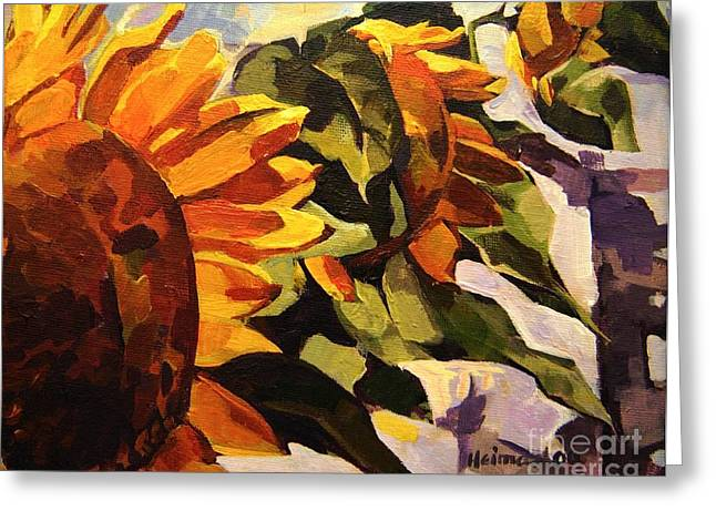 Three Sunflowers Greeting Card by Tim  Heimdal