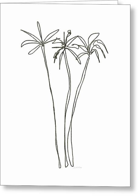 Three Tall Palm Trees- Art By Linda Woods Greeting Card