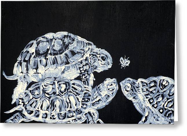 Greeting Card featuring the painting Three  Terrapins And One Fly by Fabrizio Cassetta