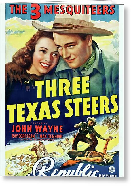 Three Texas Steers 1939 Greeting Card