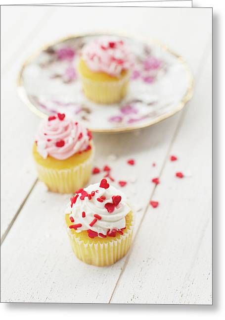 Greeting Card featuring the photograph Three Tiny Cupcakes by Rebecca Cozart