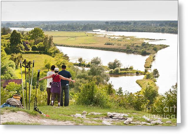Three Tourists And Nordic Walking Greeting Card by Arletta Cwalina