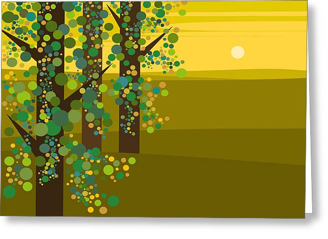 Three Trees In The Spring Greeting Card