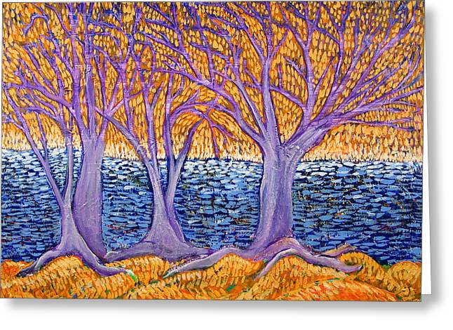 Three Trees Greeting Card by Rollin Kocsis